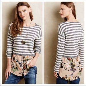 Anthropologie Postmark Floral Striped Sweater XS